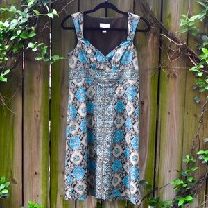 Beige and turquoise bohemian Aline dress.